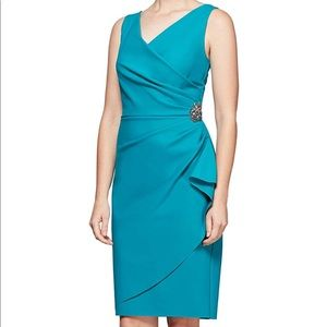 NWT Alex Evenings turquoise dress